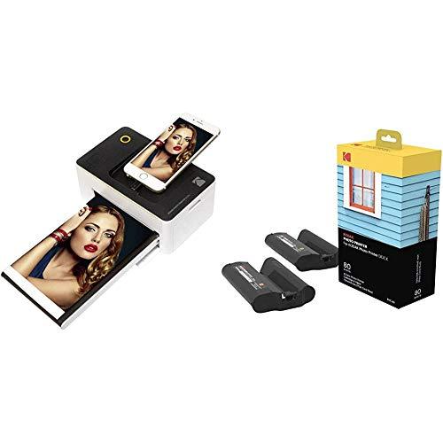 Kodak PD-450WE WiFi Negro, Color Blanco Impresora de Foto - Impresora fotográfica + Station & W-LAN - Cartucho de recambio y papel fotográfico