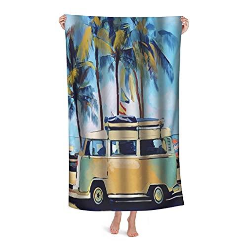 De Gran Tamaño Microfibra Ultra Suave Toalla de Baño Manta Secado Rápido,Surf Hippie Classic Old Bus con Tabla de Surf Free Holiday,Toalla de Playa Hoja de Viaje Piscina Cámping Deportes,32' x 52'