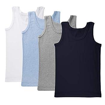 Brix Boys Undershirt Tank Top - Tagless 100% Cotton Super Soft 4 Pack Tanks 7/8 Years