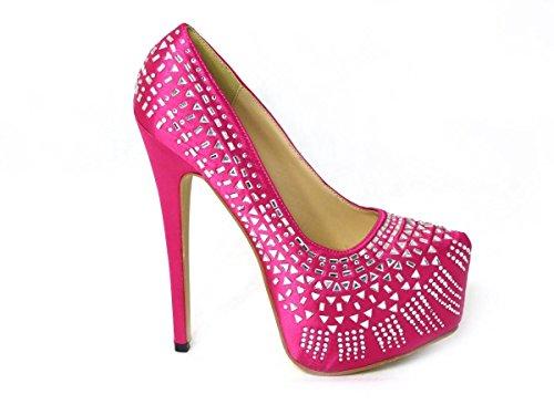 Zapatos de tacón alto con diamantes de aguja y puntera cerrada, plataforma...