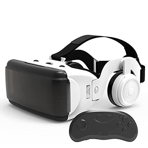YMXLXL 3D VR Gafas de Realidad Virtual, VR Glasses Visión Panorámico 360 Grado Película 3D Juego Immersivo para Móviles 4.7-6Pulgada,Gafas VR con Auriculares,B