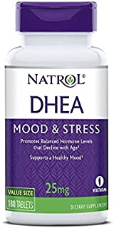 Natrol DHEA Tablets, Promotes Balanced Hormone Levels, Supports a Healthy Mood, Supports Overall Health, Helps Promote Healthy Aging, HPLC Verified, 25mg, 180 Count