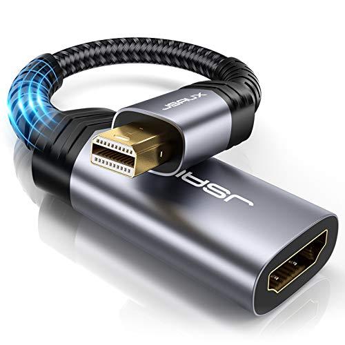JSAUX Mini DisplayPort HDMI Adaptateur Mini DP/Thunderbolt vers HDMI avec Connecteurs Plaqués Or pour MacBook Air/Pro/iMac, Microsoft Surface Pro4/Pro3/Pro2/Pro, HDTV, Moniteur, Projecteurs etc-Gris