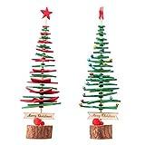 VOSAREA Mini Albero di Natale in Tessuto con Base in Legno per Decorazione Scrivania 2pcs ...