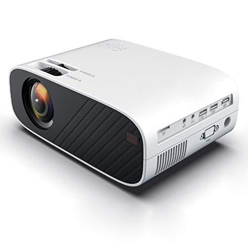 LIPETLI Proyector, Proyector Cine en Casa Soporta Full HD 1080p, CorreccióN ElectróNica Trapezoidal, Compatible con Smartphone/TV Stick, para Cine en Casa,Blanco