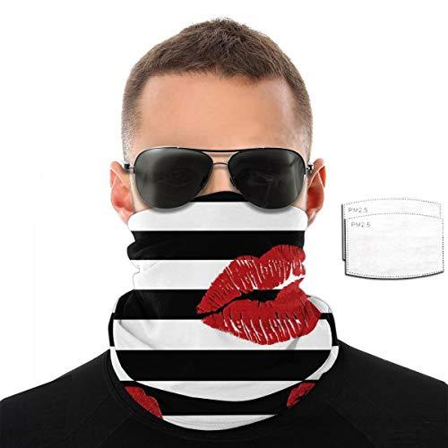 Toalla de cara con labios rojos brillantes sobre rayas blancas y negras para hombres y mujeres, deportes al aire libre, resistente al viento, transpirable, variedad de colores, color Con 2 filtros., tamaño talla única