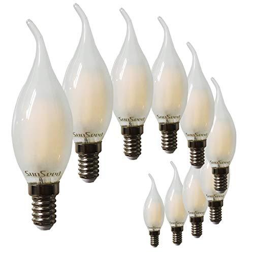 SunSeed 10x Lampadina E14 Filamento LED Satinata 4W Colpo di Vento 380 Lm Luce Calda 2700K