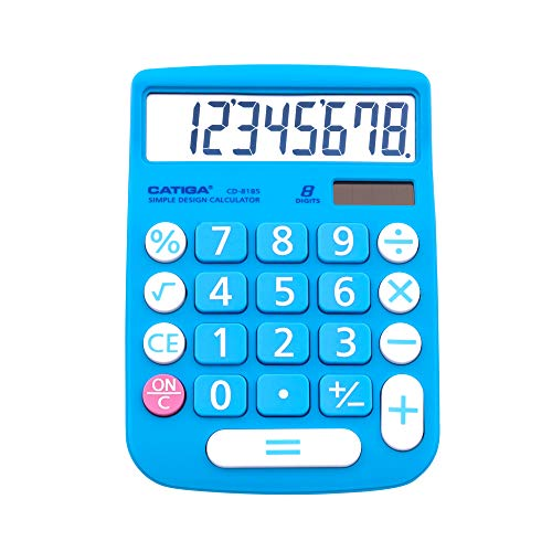 CATIGA CD-8185 Office and Home Style Calculator - 8-Digit LCD Display - Suitable for Desk and On The Move use. (Blue)