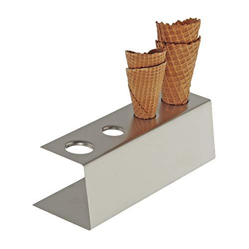 APS 11881 Matt polierter Edelstahl Eiswaffel Ständer mit rutschfesten Füßen, 4 Löcher (2 x Ø 31 mm, 2 x Ø 26 mm), 9,5 x 27,5 x 9 cm