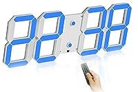 壁掛け時計 デジタル 大型 くり抜く3D led wall clock 時計 LEDデジタル 目覚まし時計 時計 壁掛け 置き時計 置時計 おしゃれ 多機能 明るさ調整 スヌーズ アラーム 12H/24H時間表示 立体 (Color : Blue(B))