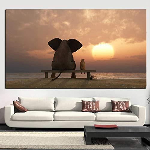 Cuadro lienzo pintura elefante jirafa bebé animales arte impresión cartel, lindo perro animales habitación de los niños decoración de la pared del cuarto de niños 60x90cm (23,6x35,4 pulgadas)