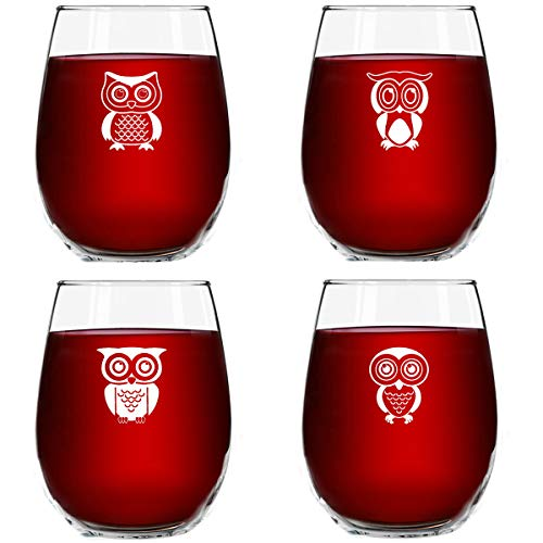 Cute Owl Wine Glass Set of 4   Stemless Wine Glasses with 4 Unique Loveable Owls   15 oz. Owl Decor Glasses   Makes Fun Owl for Women   Great Owl Kitchen Decor or New Home Gift Ideas   USA Made