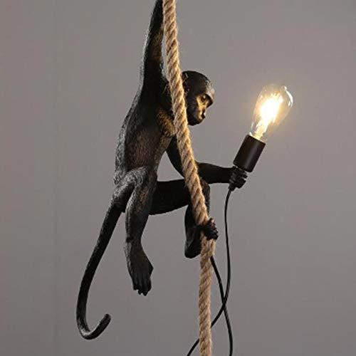 Lámpara colgante de resina de oro negro con diseño de mono, lámpara de techo, cuerda de cáñamo, incluye lámpara E27 (modelo 4)