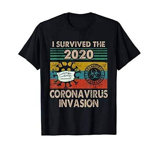 I Survived The 2020 Coronavirus Invasion t-Shirt a Manica Corta Stampata per Uomo e Donna, Top in Cotone COVID-19 Rest in Peace RIP con Girocollo, T-Shirt Fortunato Estiva 2020 (Dio Ti benedica)