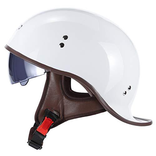 Motorradhelm Brain-Cap · Motorrad Halbhelme Scooterhelm Jethelm Motorrad Half Helm Offener Helm mit Brille für Scooter Roller Biker,ECE-Zertifizierter (Color : G, Size : L=(59~60CM))