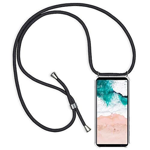 Funda para Xiaomi Redmi Note 9S / Redmi Note 9 Pro con Cuerda, Carcasa Transparente TPU Suave Silicona Case con Correa Colgante Ajustable Collar Correa de Cuello Cadena Cordón Case, Negro