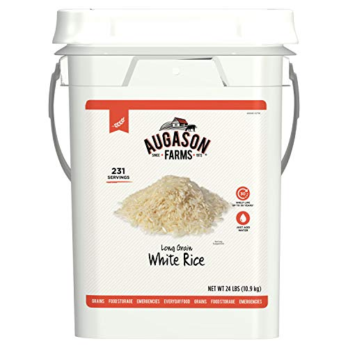 Augason Farms Long Grain White Rice Emergency Food Storage 24 Pound Pail