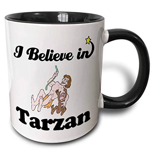 Ich glaube an Tarzan zweifarbige Tasse, schwarz/weiß, Keramik Kaffeetasse für Büro und Zuhause, Teetasse für Kaffee, Tee, Milch oder Kakao Einzigartiges Festival Geburtstagsgeschenk 11oz