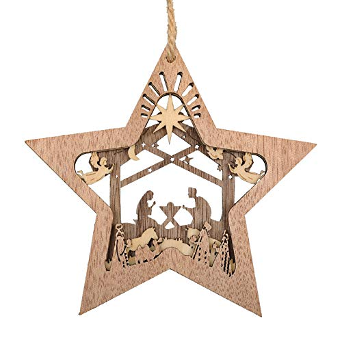 Creawoo Nativity Scene Ornaments, Christmas Wooden Hanging Ornament Star Shaped Nativity Scene Keepsake for Xmas Tree, The Birth of Jesus Decoration, Religious Gift for Family Friends and Christian