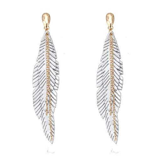 NVENF Feather Tassel Dangle Earrings for Women Bohemian Faux Leather Plume Gold-Tone Metal Chain Fringe Statement Drop Earrings Vintage Ethnic Style Jewelry (Silver)