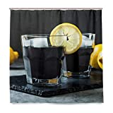 ONELUCA Activated Charcoal Black Lemonade Shower Curtain Waterproof Polyester Fabric Bath Curtian Bathroom Decor with 12 Hooks 72x72 Inch