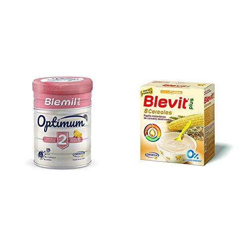 Blemil Plus Optimum 2, Leche de continuación para bebé - 800 gr. + Blevit Plus 8 Cereales para bebé - 2 de 500 grams (Total: 1000 gr.)