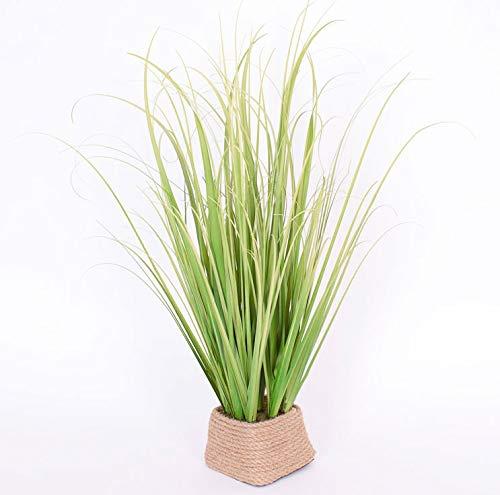 artplants.de Kunstpflanze Grasbüschel grün-gelb im Korb 50cm - Dekogras - Kunstgras - Kunstpflanze