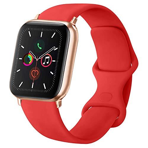 ATUP Cinturino Compatibile per Apple Watch Cinturini 38mm 42mm 40mm 44mm, Cinturino di Ricambio in Silicone Morbido per iWatch Series 4, Series 3, Series 2, Series 1 (06 Orange Red, 42mm/44mm-S/M)