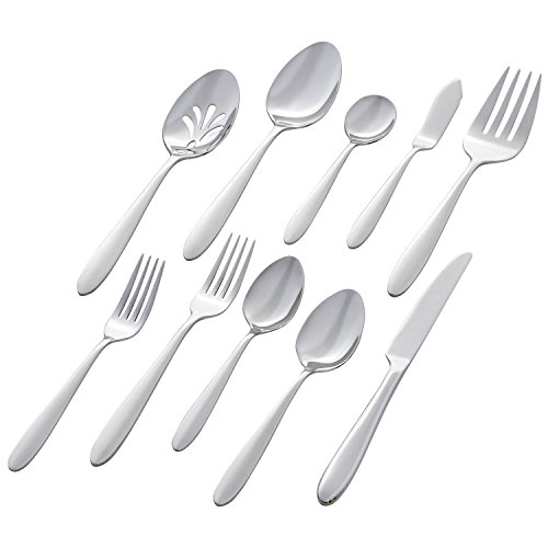 Stone & Beam Traditional Stainless Steel Flatware Set Silverware, Service for 8, 45-Piece, Silver with Round Trim