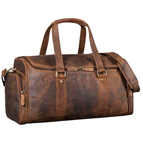 STILORD 'Myles' Bolsa Deporte Hombre Grande Cuero Bolsa de Viaje Vintage Maleta de Mano para Vacaciones Equipaje de Piel Auténtico, Color:marrón - Medio