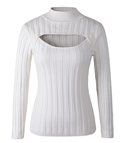 YABINA Women Sexy Keyhole Front Tight Turtleneck Pullovers Sweater