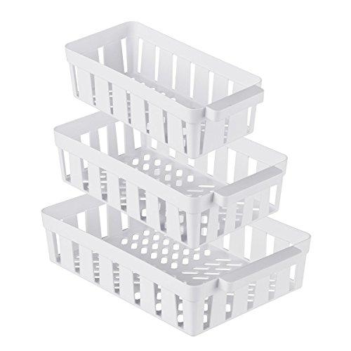 genialo Kühlschrank-Korbset 3 Stück, Aufbewahrungsbox Ablagefach, platzsparender Organizer, Küche, Kunststoff, 14 x 26- 22 x 32 cm, weiß