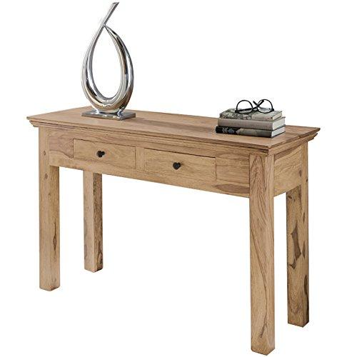 Wohnling Table console bois massif d'Acacia Console avec 2 tiroirs bureau 110 x 40 cm style maison de campagne Buffet moderne/marron foncé Étui en bois massif nature Buffet Console sekr etör Table couloir