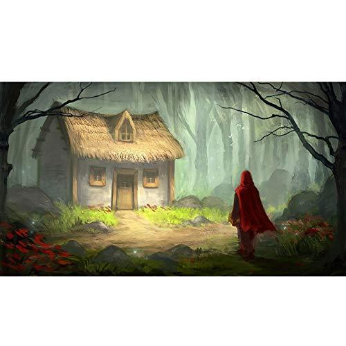 Pintura Puzzle Little Red Riding Hood y The Big Bad Wolf 300/500/1000 Pieza de Cartón Adulto Jigsaw, DIY Juguetes Creativos Diversión Juego de Familia para Niños AE35 (Color : B, Size : 300PC)