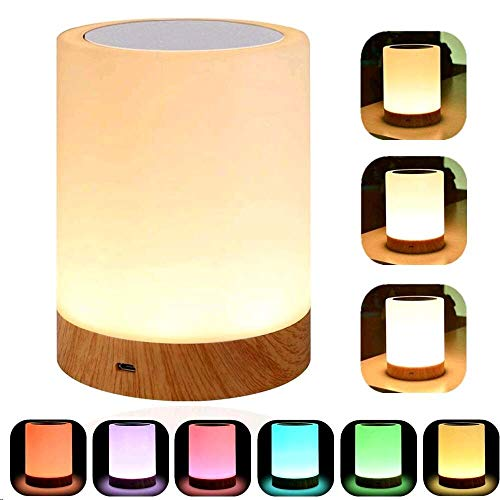 YSD Touch Lamp, Bedside Lamp & Table Lamp with Rechargeable Battery, Brightness Adjustable and Color Dimmable, Portable Night Light for Bedroom, Living Room.