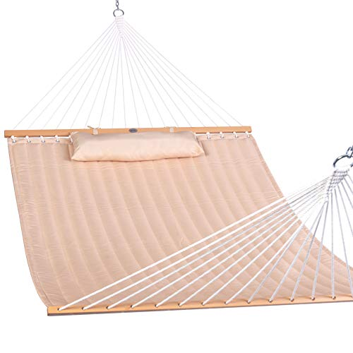 Lazy Daze Hammocks 55' Double Quilted Fabric Hammock Swing with Pillow, Sandy