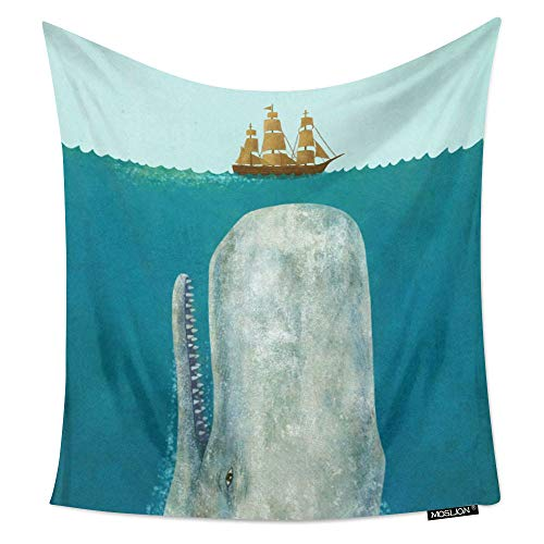 Moslion Room Art Wall Tapestry Moby Dick Whale Crash a Boat Cool...
