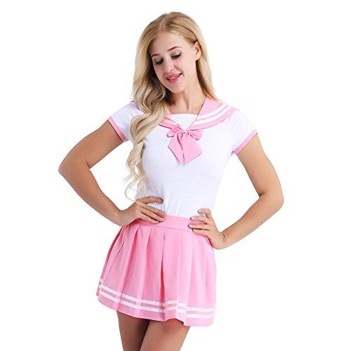 Freebily Damen Schulmädchen Kostüm Baby & Windel Liebhaber Uniform Kostüm Kurzarm Reizwäsche Strampler mit Mini Faltenrock Cosplay Dessous Set Rosa M