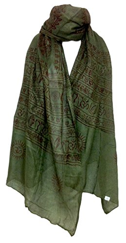 Indian Om Mantra Scarf Block Print (Forest Green)