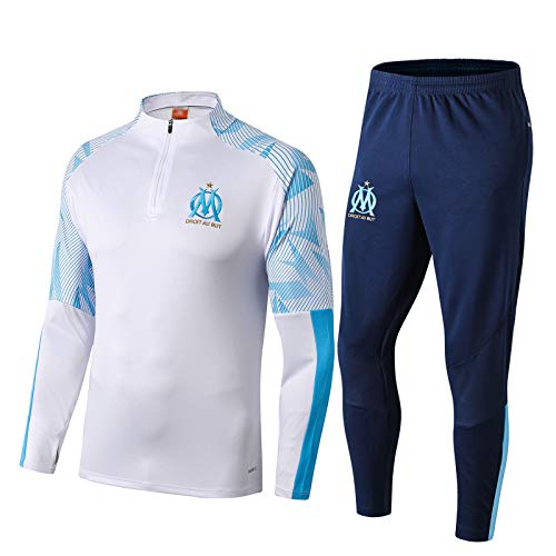 FICL 19-20 Mǎrsèillě Fußball Trainingsanzug Für Herren - Fußball Langarm Halb Zipper Sportbreathanzug Jersey Top + Pants 2-teiliges Set White-XL