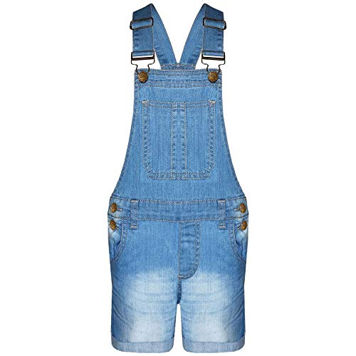 A2Z 4 Kids® Kinder Mädchen Latzhose Shorts Denim Stretch Jeans Overall Playsuit All in One Alter 5 6 7 8 9 10 11 12 13 Jahre Gr. 3-4 Jahre, hellblau