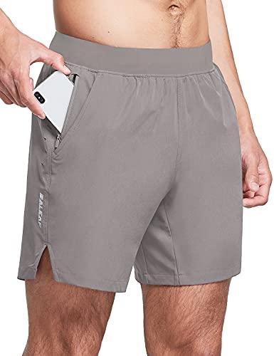 BALEAF Pantalones cortos de entrenamiento 2 en 1 para hombre, de 7 pulgadas, con bolsillo con cremallera - gris - Large