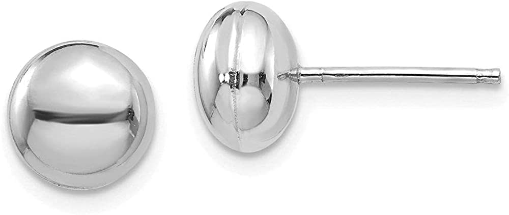 Jewelry-14k White Polished 8mm Button Post Earrings