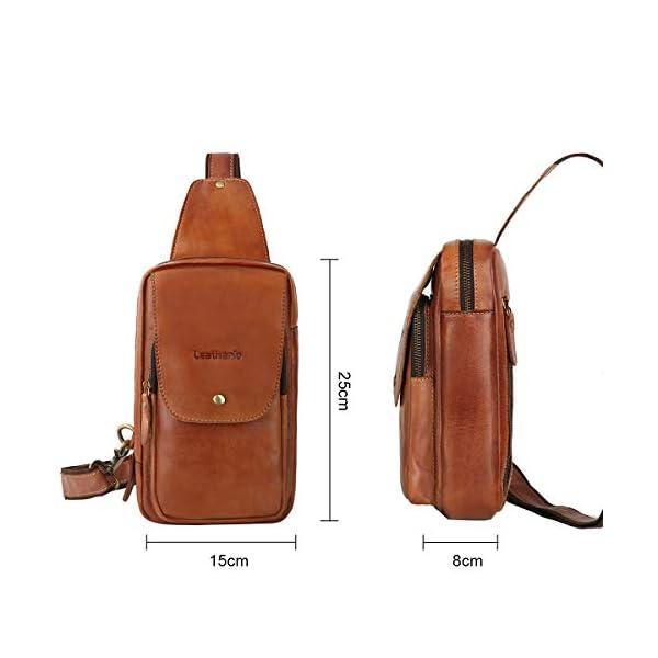 41+71uPQQ4L. SS600  - Leathario Bolso Pecho Hombro Bandolera Cruzado Cuero Guenino Vintage de Trabajo para Hombres Mochila Pecho Piel Grande para Viaje Crossbody Sling Bag