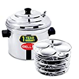 IBELL Stainless Steel 6-Plates Idly Cooker, Induction and Gas Stove Compatible Idli Maker (24 Idlies; Silver)