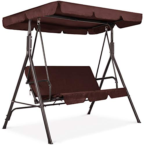Best Choice Products 2-Person Outdoor Large Convertible Canopy Hanging Swing Glider Lounge Chair w/Adjustable Shade, Removable Cushions - Brown