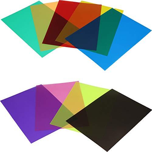 Farbfolie Farbfilter Folie, Filterset Farbkorrektur mit 9 Farben für Blitzlicht, Farbgel-Filter, Fotostudio-Zubehör,Foto Studio Strobe Blitz LED Licht (11.69 x 8.26 Zoll)