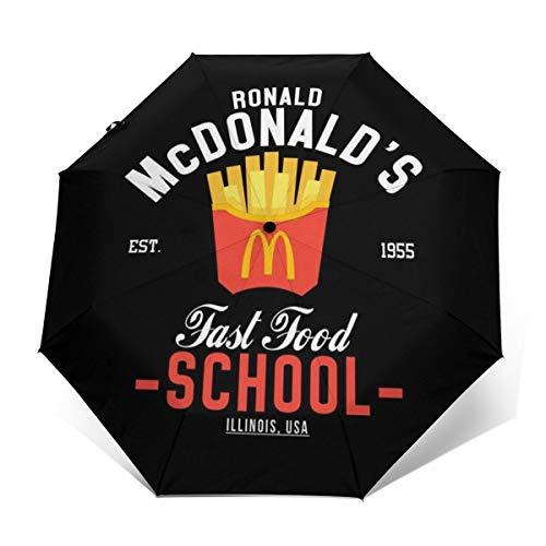 Ronald Mcdonalds Fast Food Paraguas Plegable Compacto y Resistente al Viento, Apertura y Cierre automático, Plegable