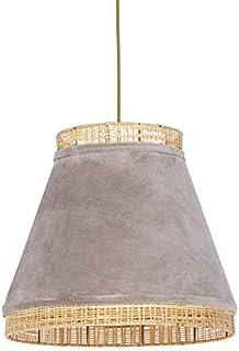 QAZQA Rústico Lámpara colgante rústica terciopelo beige mimbre 45x43cm - FRILLS CAN Acero/Ratán/Textil Alargada/Redonda Adecuado para LED Max. 1 x 25 Watt
