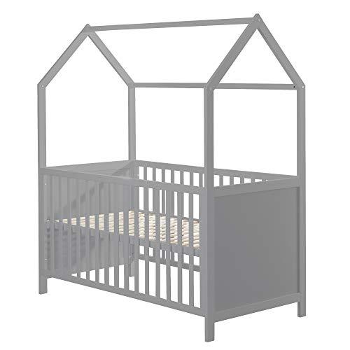 roba Hausbett 70 x 140 cm FSC zertifiziert, Kombi-Kinderbett in Hausoptik, taube, 3-fach verstellbar, Schlupfstäbe, umbaubar zum Juniorbett